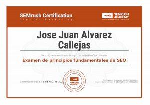 Certificado SEMrush Principios fundamentales de seo