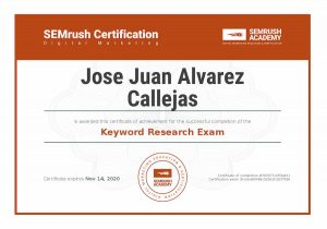 Certificate keyword research. SEMrush Certification.
