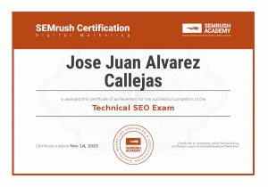Certificate Technical SEO. SEMrush Certification.
