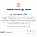 Hubspot Certificado Content Marketing